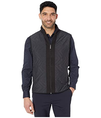 Perry Ellis Chevron Quilt Front Ponte Full Zip Sleeveless Vest (Black) Men