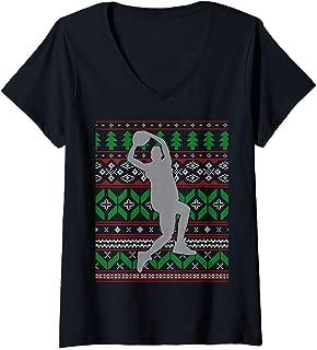 Womens Basketball Player Slam Dunk Dribble Hoops Happy Holidays  V-Neck T-Shirt