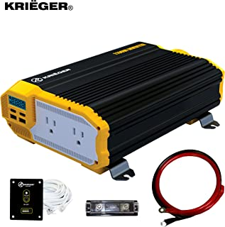KRIËGER 1100 Watt 12V Power Inverter Dual 110V AC Outlets, Installation Kit Included,..