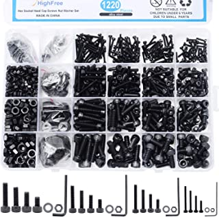 HighFree 1220 PCS M2 M3 M4 M5 Steel Bolts Screws Nuts Washers Assortment Kit with Hex Wrenches (Socket Head)