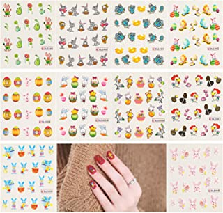 200pcs Easter Nail Stickers, AKWOX Nail Art Water Slide Bunny Nail Decal Set Self-Adhesive Nail Tips Decorations for Girls Women Easter Party Favors