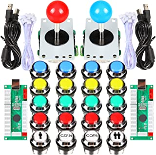 EG Starts 2 Player Classic Arcade Contest DIY Kits USB Encoder To PC Joystick + 8 Ways Sticker + Chrome Plating LED Illuminated Push Button 1 & 2 Player Coin Buttons For Arcade Mame Raspberry Pi Games