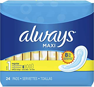 Always Maxi Size 1 Regular Pads Without Wings Unscented, 24 Count