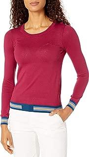 Women's Long Sleeve Crew Neck Semi Fancy Cotton Silk Jersey Sweater