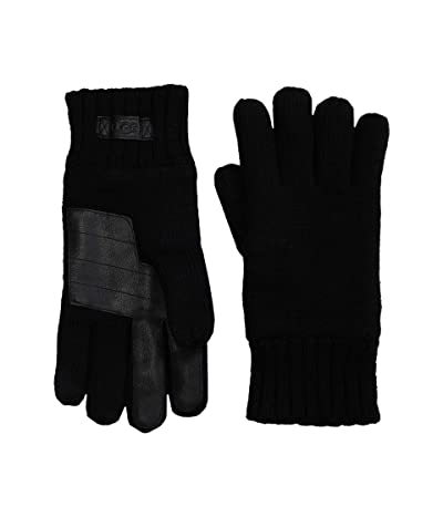 UGG Knit Gloves with Tech Leather Palm (Black) Extreme Cold Weather Gloves