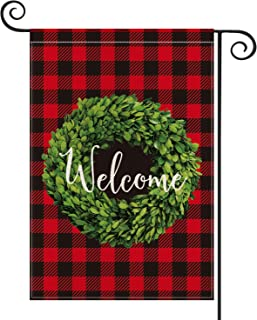 AVOIN Christmas Boxwood Wreath Welcome Garden Flag Vertical Double Sided, Winter Buffalo Check Plaid Rustic Farmhouse Burlap Flag Yard Outdoor Decoration 12.5 x 18 Inch