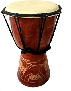 """HAND CARVED DJEMBE DRUM 9"""""""