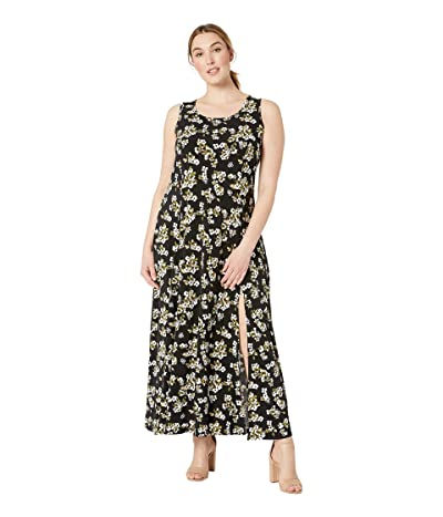 MICHAEL Michael Kors Plus Size Glam Painterly Maxi Tank Dress (Black/Ivy) Women