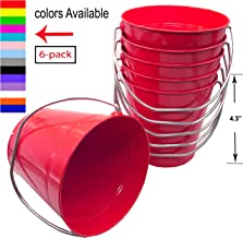 Italia 6-Pack Metal Bucket 0.5 Quart Color Red Size 4.3 x 4.3
