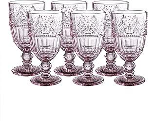 Colored Glass Goblet 11 oz Embossed Design Wedding Glass Set of 6 (Pink)