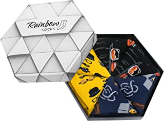 Rainbow Socks, Hombre Calcetines Caballero Regalo - 3 Pares - Talla 41-46