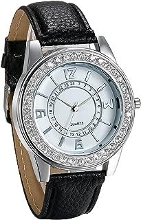 JewelryWe Wholesale 4PCS Women Watches Bling Rhinestone Accented Quartz Watch Leather Strap Casual Dress Watch