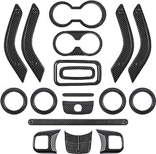 Full Set Interior Decoration Trim Kit - Carbon Fiber Door Handle & Steering Wheel, Cup Cover & Air Outlet, Center Console & Gear Shift Knobs Frame for Jeep Wrangler JK 2011-2018 (18 PCS)