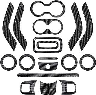 E-cowlboy Full Set Interior Decoration Trim Kit - Carbon Fiber Door Handle & Steering Wheel, Cup Cover & Air Outlet, Center Console & Gear Shift Knobs Frame for Jeep Wrangler JK 2011-2018 (18 PCS)