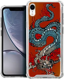 CasesOnDeck Fitted Case Compatible with [Apple iPhone XR/iPhone 10R] Full Body Clear Bumper Case Slim Fitted Unique Cover (Tattoo Dragon)