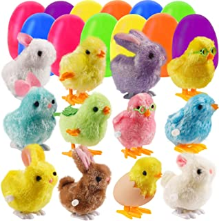 Lulu Home 12 Prefilled Easter Eggs with 12 Wind-up Bunnies and , Jumping Bunny Chick Toys for Boys and Girls Gift, Easter ...