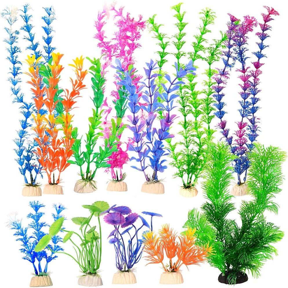 Quickun 12 Pack Artificial Colorful Aquarium Decoration Plants Medium 6.3