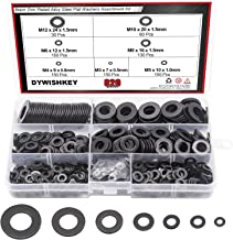DYWISHKEY 820Pcs 7 Sizes Black Zinc Plated Steel Flat Washers Assortment Kit (M3 M4 M5 M6 M8 M10 M12) - coolthings.us