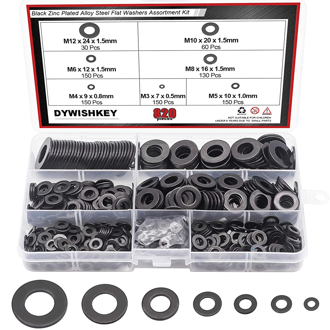 DYWISHKEY 820Pcs 7 Sizes Black Zinc Plated Steel Flat Washers Assortment Kit (M3 M4 M5 M6 M8 M10 M12)