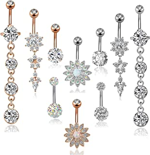 FIBO STEEL 16 Pcs 14G Stainless Steel Dangle Belly Button Rings Navel Barbell Body Jewelry Piercing