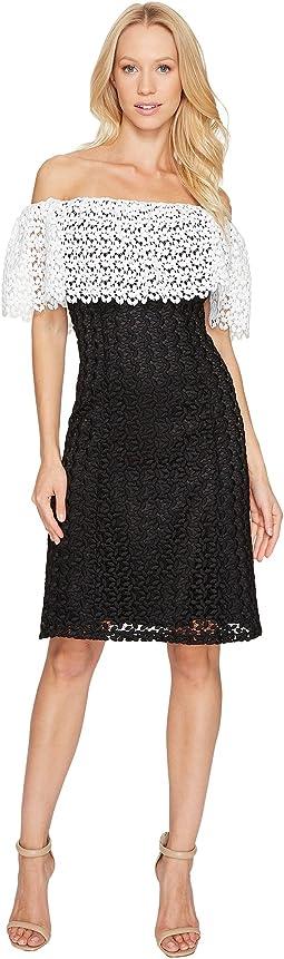Lace Combo Cold Shoulder Dress