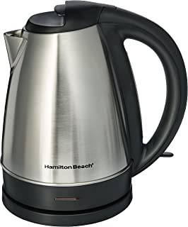 Hamilton Beach 1.7 L Electric Kettle for Tea & Hot Water, Cordless, Auto-Shutoff & Boil-Dry Protection, Stainless Steel (40989)