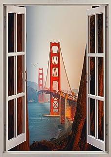 """Fabulous Décor - Golden Gate Bridge 3D Window View Wall Art Premium Vinyl Decal Sticker 24""""H X 17""""W"""