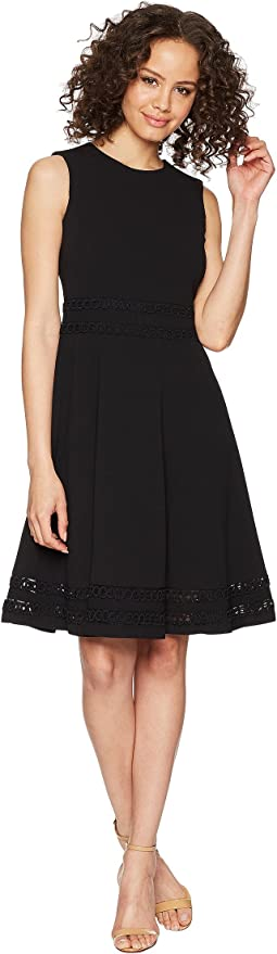 Fit and Flare Dress with Lace Detail at Waist & Hem CD8C412C