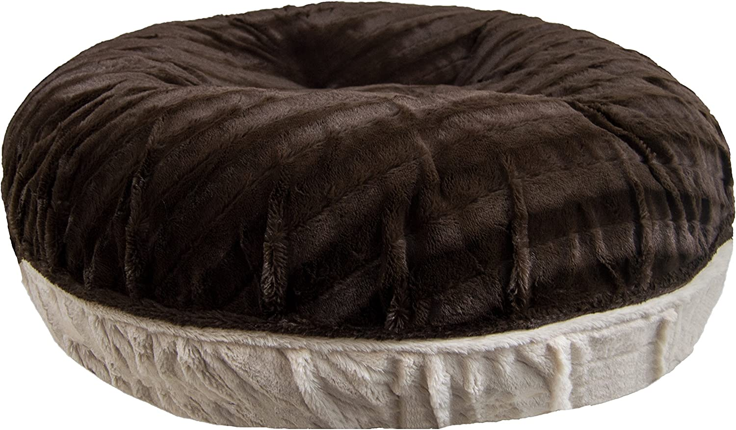 BESSIE AND BARNIE Signature Godiva Brown Natural Beauty Extra Plush Faux Fur Bagel Pet Dog Bed (Multiple Sizes)
