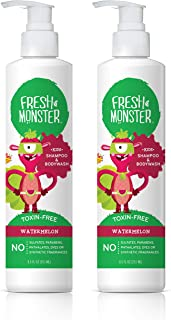 Fresh Monster Kids Shampoo & Body Wash, Watermelon |Toxin-Free Hypoallergenic & Natural |(2 Pack, 8.5oz/ea)