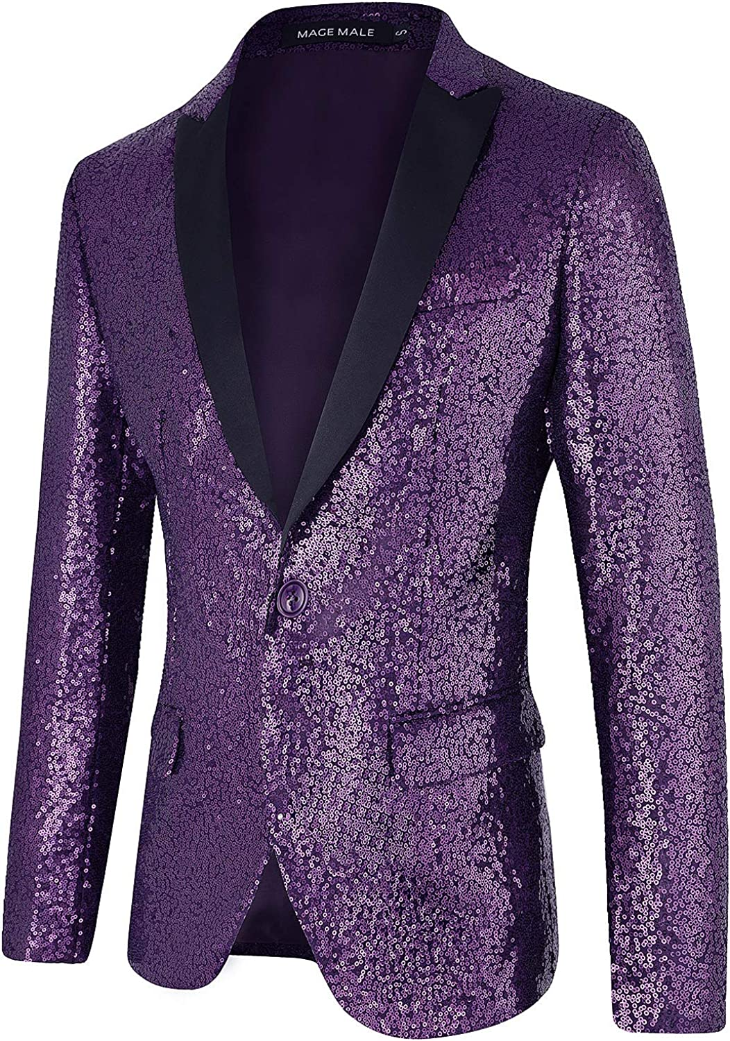 MAGE MALE Men's Shiny Sequins Suit Jacket Blazer One Button Tuxedo for Party,Wedding,Banquet,Prom