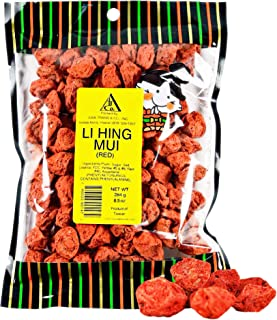 Asia Trans Seeded Red Li Hing Mui Crack Seed Plums | Hawaiian Favorite | Sweet, Sour, & Salty Dried Asian Plum Candy