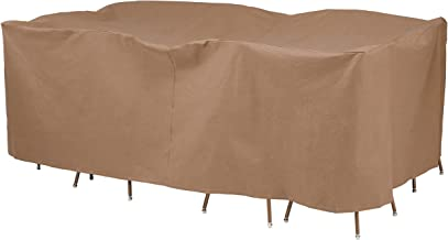 Duck Covers Essential Rectangle/Oval Patio Table with Chairs Cover, 140-Inch