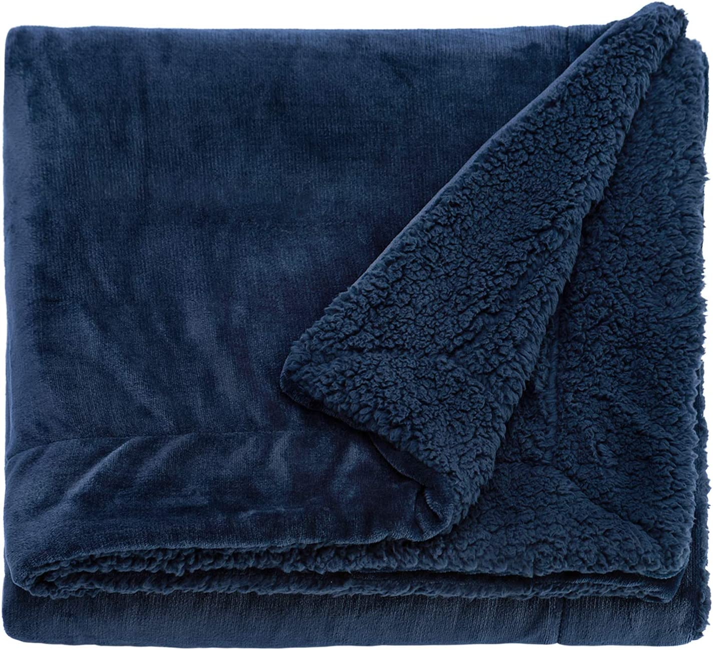 Sivio Faux Fur Sherpa Fleece Blanket Twin Size 60x80 Inches Navy Blue Plush Throw Blanket Fuzzy Soft Blanket Microfiber for Couch Sofa Ultra Luxurious Warm and Cozy for All Seasons Bed