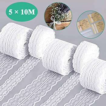 10M VINTAGE White LACE RIBBON TRIM 1.5cm decor rustic