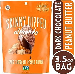 Wild Things Skinny Dipped Dark Chocolate Peanut Butter Covered Almonds, Gluten Free, Low Sugar Snacks, 3.5 oz bag