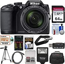 Nikon Coolpix B500 Wi-Fi Digital Camera (Black) with 64GB Card + Case + Flash + Batteries & Charger + Tripod + Strap + Kit