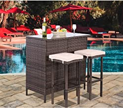 Polar Aurora 3PCS Patio Bar Set with Stools and Glass Top Table Patio Wicker Outdoor Furniture with Beige Removable Cushio...