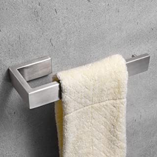 Nolimas Bathroom Hardware Towel Bar SUS 304 Stainless Steel Square Towel Ring Shelf Holder Rack Bath Kitchen Garage Heavy Duty Wall Mounted, Nickel Brushed