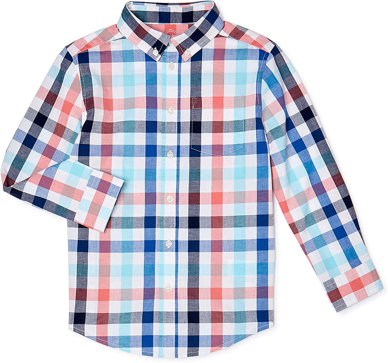 WonderNation Boys Long Sleeve Button Down Plaid Shirt