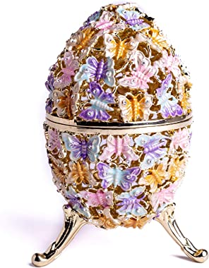 Keren Kopal Golden Faberge Egg Decorated with Butterflies Trinket Box Russian Egg with Swarovski Crystals Collectors Easter Egg Home Design Gift Idea