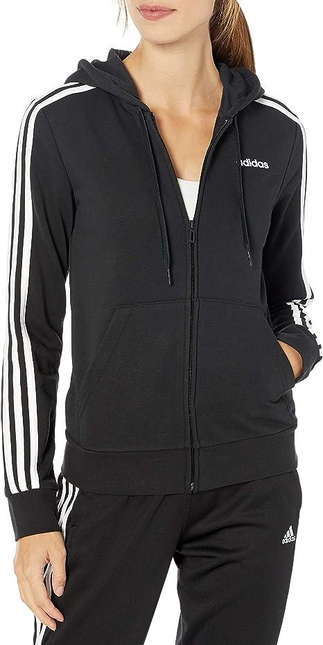 adidas Women's Essentials 3-stripes Full-zip Fleece Hooded Sweatshirt