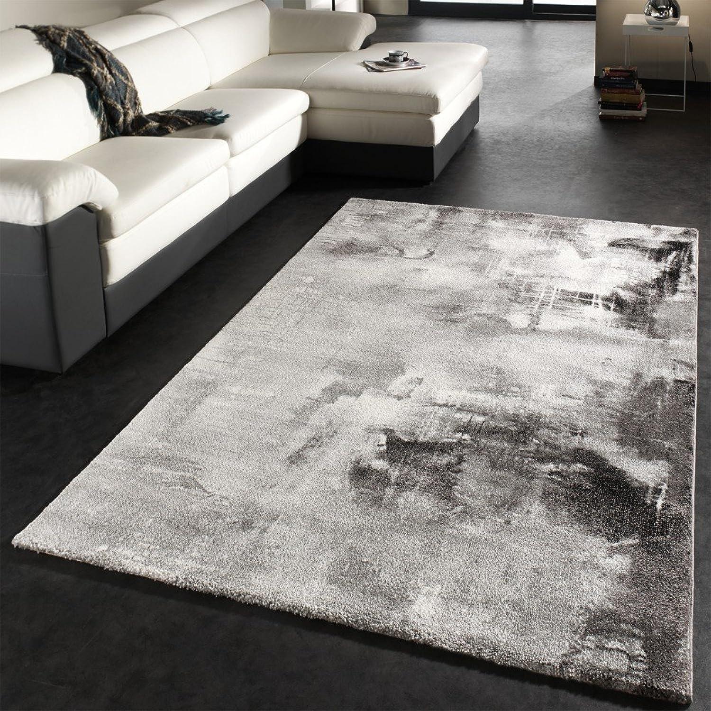 Paco Home Teppich Modern Designer Teppich Leinwand Optik Grau Schwarz Weiss Meliert, Grsse 200x290 cm