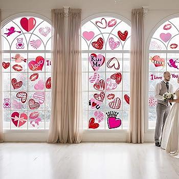 WATINC 200Pcs Saint Valentin Coeur Autocollants Kit DIY Home Fen/êtres D/écoration Window Clings Mignon Rouge Rose Des Fleurs Fraise Boutique D/éco PVC Amovibles Statique Verre Stickers pour Mariage F/ête