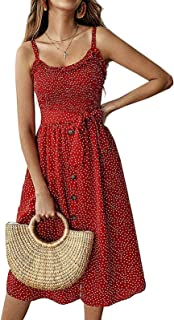 Joeoy Women's Polka Dot Spaghetti Strap Beach Boho A-Line Midi Dress with Belt and Pockets