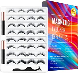 Vegan, Cruelty-Free, Magnetic Eyelashes and Magnetic Eyeliner Kit,16 Pairs of Reusable 3D 5D 6D Magnetic Eyelashes with 2 ...