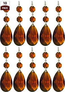 Royal Designs Replacement Chandelier Crystal Prism Amber K9 Quality Tear Drop Almond Cut with Chrome Connectors and 2 Amber Octogan Crystal Beads Pack of 10