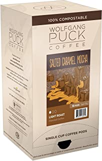 Wolfgang Puck Coffee, Salted Caramel Mocha Coffee, 9.5 Gram Pods, (Pack of 3)