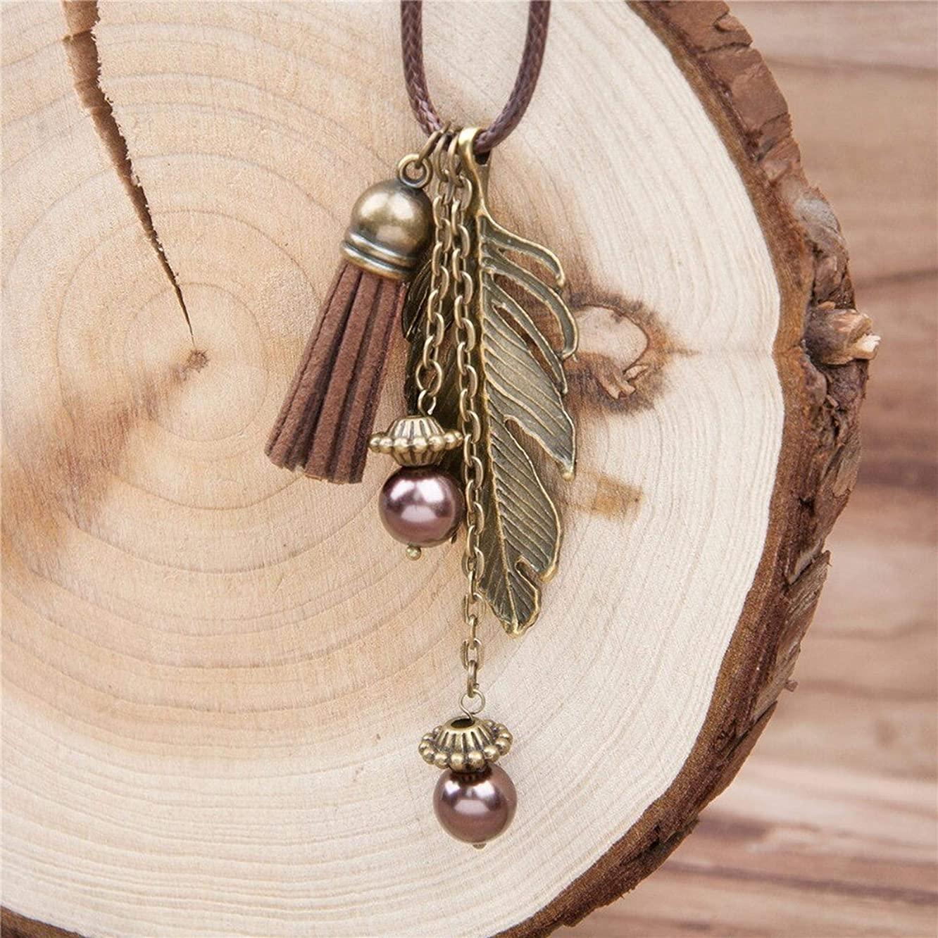 Handmade Fashion Tassel Pendant Necklace Feather Necklace Link Chain Bronze 46.5cm long brown 1 Piece for women
