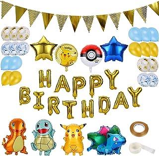 Colmanda Globo Pokémon, 35 Piezas Helium Foil Balloons Pokemon Pikachu Globos de Fiesta Aluminio Globo Suministros de Fiesta para Niños Decoraciones Suministros